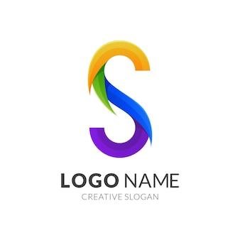 Concetto di logo della lettera s, stile logo moderno in colori vivaci sfumati