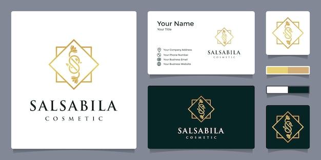 Logo della lettera s per cosmetici e bellezza con modello di biglietto da visita