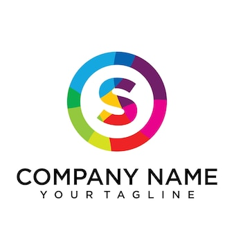 Modello di progettazione del logo della lettera s. segno creativo foderato colorato