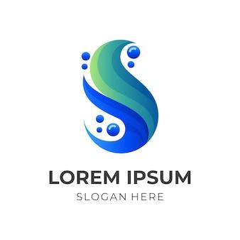 Modello di logo della lettera s con stile di colore blu e arancione 3d