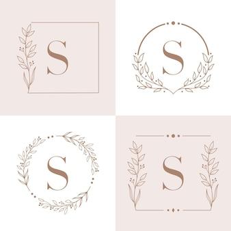 Marchio della lettera s con modello di sfondo cornice floreale