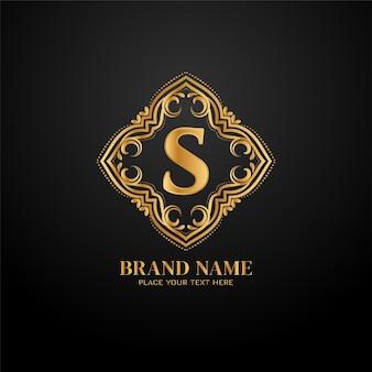 Modello di logo del marchio di lusso lettera s.