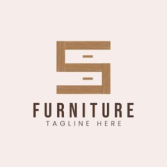 Lettera s con ispirazione per il design del logo del concetto di mobili in legno
