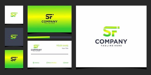 Lettera sf logo design e biglietto da visita vettore premium