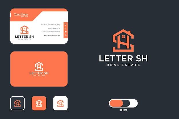 Lettera sh immobiliare logo design e biglietto da visita