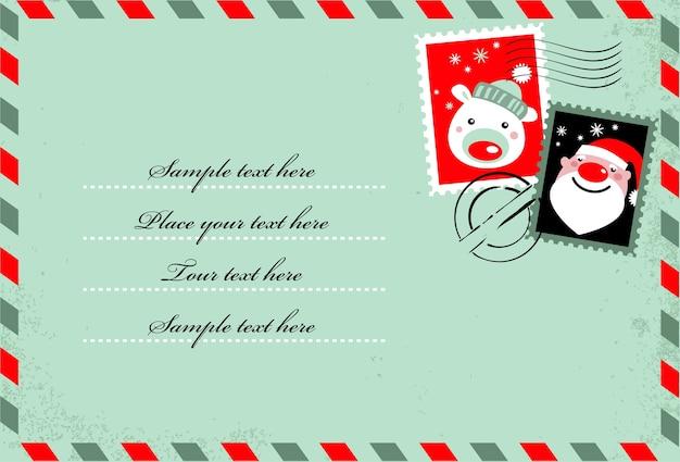 Sfondo a forma di lettera con simpatici francobolli natalizi. icone di babbo natale e orso polare