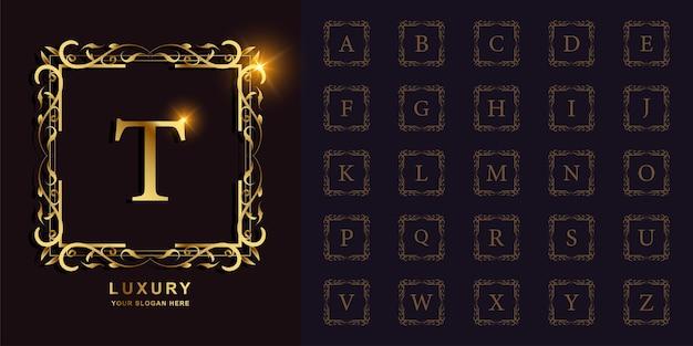 Lettera t o alfabeto iniziale di raccolta con modello di logo dorato cornice floreale ornamento di lusso.