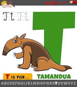 Lettera t dall'alfabeto con carattere animale tamandua dei cartoni animati