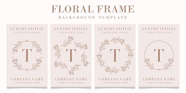 Disegno di marchio della lettera t con modello di cornice floreale