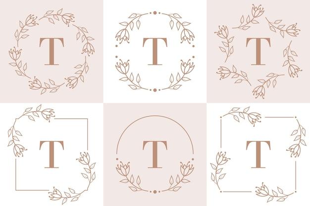 Disegno di marchio della lettera t con elemento foglia di orchidea