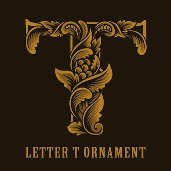 Stile ornamento vintage logo lettera t