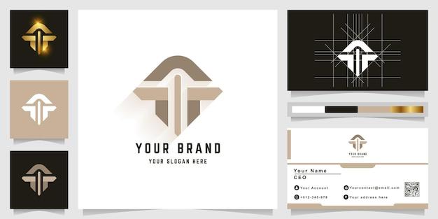 Logo monogramma lettera t o a con design biglietto da visita