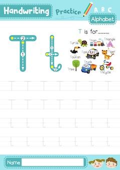 Foglio di lavoro per la pratica della tracciatura maiuscola e minuscola della lettera t.