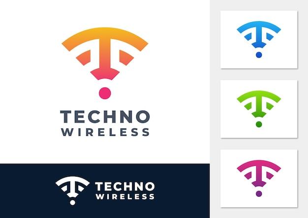Vettore del logo del gradiente del segnale wireless della lettera t