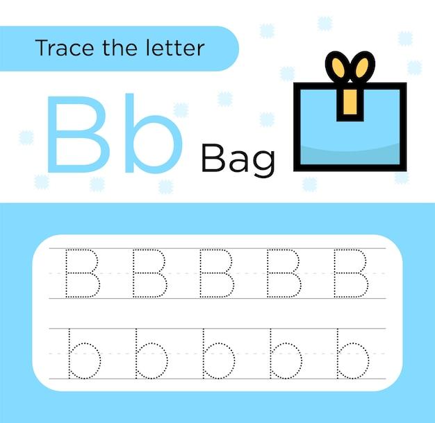 Lettera trace practice paper vettore premium. traccia di alfabeto