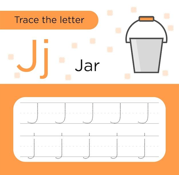 Tracciamento delle lettere per i bambini. traccia della lettera j. carta pratica prescolare