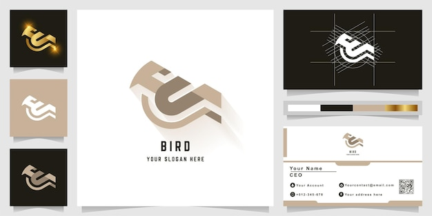 Lettera u o logo monogramma uccello con design biglietto da visita