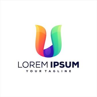 Lettera u gradiente logo design