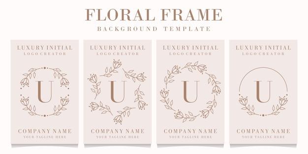 Disegno di marchio della lettera u con modello di cornice floreale