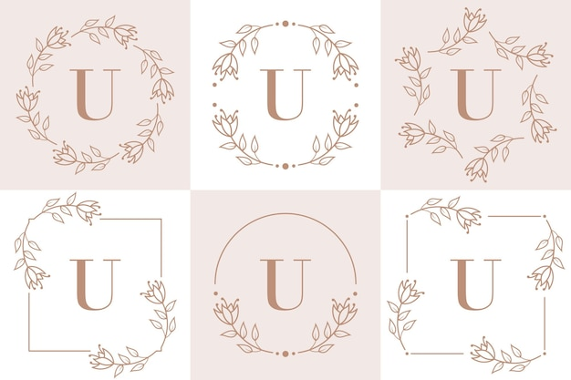 Disegno di marchio della lettera u con elemento foglia di orchidea