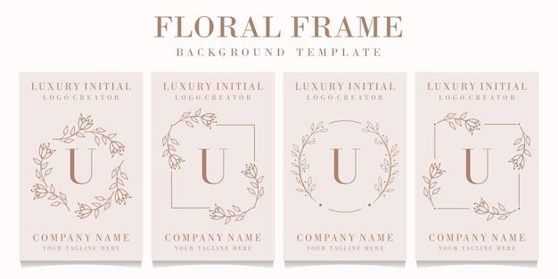 Marchio della lettera u con modello di cornice floreale