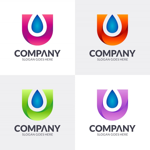 Lettera u + logo goccia d'acqua