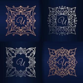 Lettera u con modello di logo cornice floreale