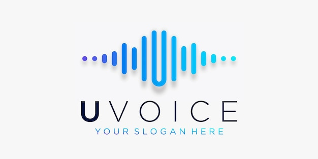 Lettera u con impulso. il tuo elemento vocale. modello di logo musica elettronica, equalizzatore.
