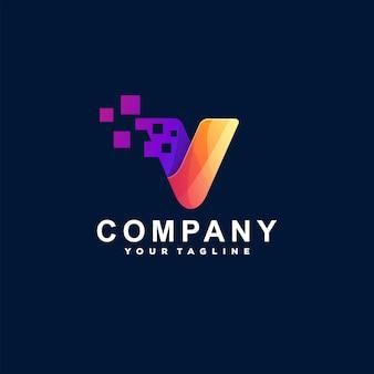 Modello di logotipo gradiente lettera v