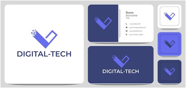 Lettera v logo design dati rete di connessione digitale per informazioni sulla tecnologia