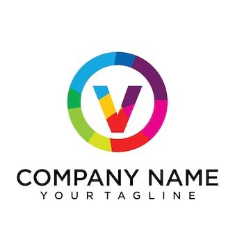 Modello di progettazione del logo della lettera v. segno creativo foderato colorato