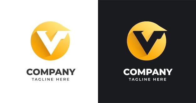 Modello di progettazione di logo di lettera v con stile a forma di cerchio
