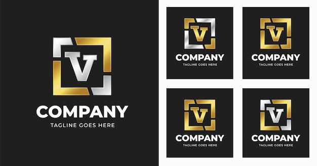 Modello di progettazione del logo della lettera v con stile di forma quadrata