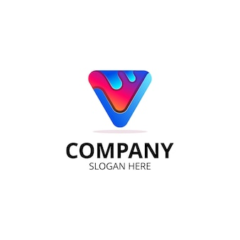 Lettera v logo multimediale