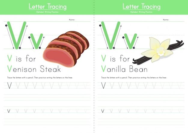 Lettera v alfabeto alimentare di tracciamento