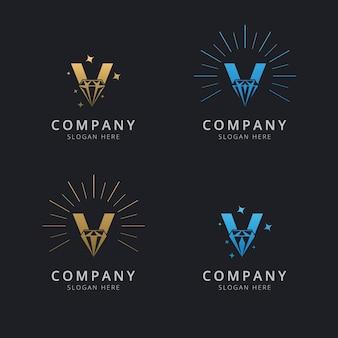 Lettera v con modello di logo di lusso diamante astratto