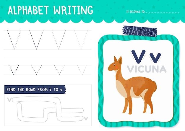 Modello di foglio di lavoro lettera v Vettore Premium