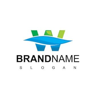 Lettera w logo dell'acqua pulita