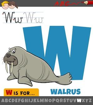 Lettera w dall'alfabeto con carattere animale tricheco dei cartoni animati
