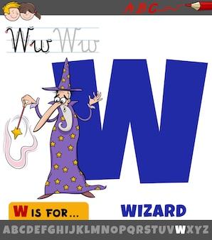 Lettera w dell'alfabeto con personaggio mago dei cartoni animati