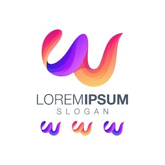 Lettera w disegno a colori sfumati logo