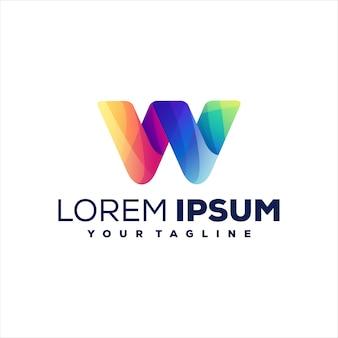 Lettera w gradiente logo design