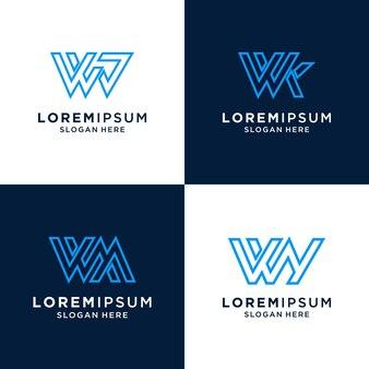 Lettera w logo di ispirazione per il marchio e il business