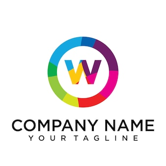 Modello di progettazione del logo della lettera w. segno creativo foderato colorato