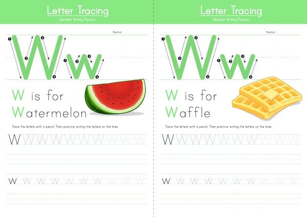 Lettera w alfabeto alimentare di tracciamento