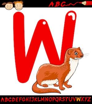 Lettera w per l'illustrazione di cartone animato donnola