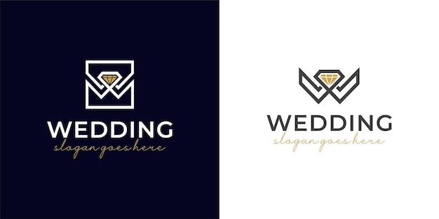 Lettera w per il matrimonio con un'elegante gioielleria con diamanti o il design del logo dell'icona della decorazione
