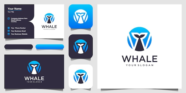 Lettera w con balena logo design ispirazione elemento modello di progettazione grafica vettoriale