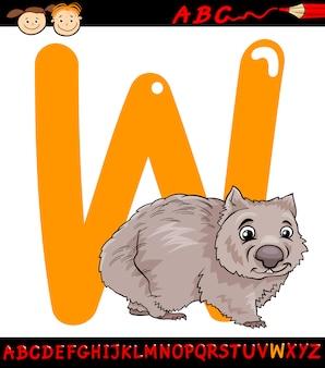 Lettera w per l'illustrazione del fumetto wombat
