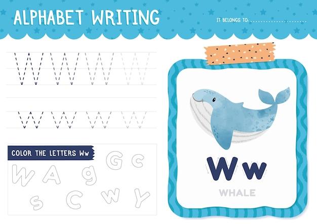 Modello di foglio di lavoro lettera w